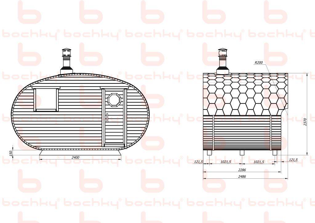Баня-овалбочка 4х2