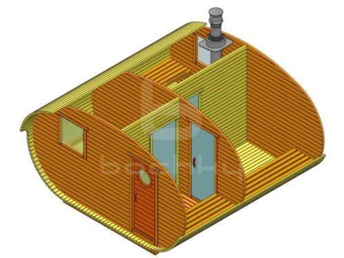 Баня-овалбочка 4х4 с перегородкой