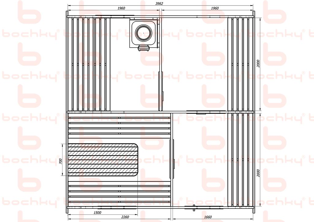 Баня-квадро-овалбочка 4х4,5 с перегородкой