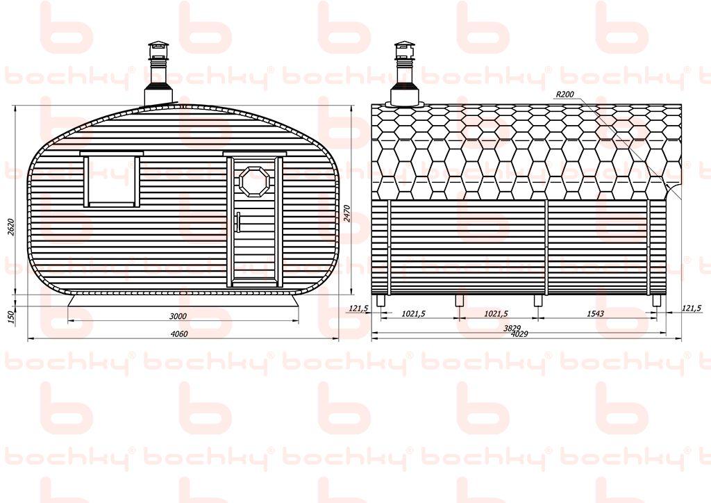 Баня-квадро-овалбочка 4х4 с перегородкой