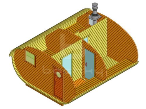 Баня-овалбочка 4х4,5 с перегородкой